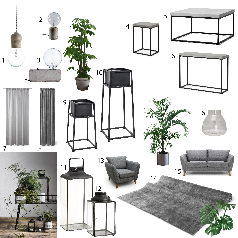 grått vardagsrum